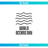 World Oceans Day. June 8. Promoting card with hand drawn doodle,  line illustration. Abstract sea waves on a white background with text Royalty Free Stock Image