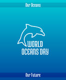 World Oceans Day. June 8. Promoting card with hand drawn doodle,  line illustration. Dolphin, a marine mammal animal. White picture on a gradient blue Stock Photography
