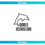 World Oceans Day. June 8. Promoting card with hand drawn doodle,  line illustration. Dolphin on white background with text Stock Images