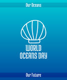 World Oceans Day. June 8. Promoting card with hand drawn doodle,  line illustration. Flat seashell. White picture on a gradient blue background with text Royalty Free Stock Image