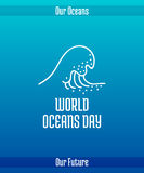 World Oceans Day. June 8. Promoting card with hand drawn doodle,  line illustration. High sea wave with foam, white picture on a gradient blue background with Royalty Free Stock Photo
