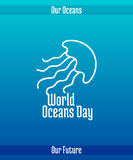 World Oceans Day. June 8. Promoting card with hand drawn doodle,  line illustration. Jellyfish on a blue background Stock Photography