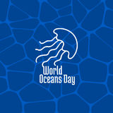 World Oceans Day. June 8. Promoting card with hand drawn doodle,  line illustration. Jellyfish on a dark blue background Stock Image