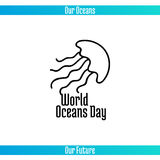 World Oceans Day. June 8. Promoting card with hand drawn doodle,  line illustration. Jellyfish on a white background Stock Images
