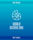 World Oceans Day. June 8. Promoting card with hand drawn doodle,  line illustration. Sea shell of a shellfish nautilus, a marine animal. White picture on a Stock Photos