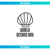 World Oceans Day. June 8. Promoting card with hand drawn doodle,  line illustration. Sea shell on white background with text Royalty Free Stock Image