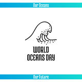 World Oceans Day. June 8. Promoting card with hand drawn doodle,  line illustration. Sea wave with foam on a white background with text Stock Photography