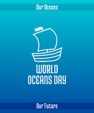 World Oceans Day. June 8. Promoting card with hand drawn doodle,  line illustration. Ship under sail. White picture on a gradient blue background with text Stock Photos