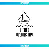World Oceans Day. June 8. Promoting card with hand drawn doodle,  line illustration. A small boat with a sail on a white background with text Stock Photos