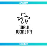 World Oceans Day. June 8. Promoting card with hand drawn doodle,  line illustration. A small tropical fish on a white background with text Stock Photography