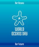 World Oceans Day. June 8. Promoting card with hand drawn doodle,  line illustration. Starfish, a sea animal. White picture on a gradient blue background with Stock Image