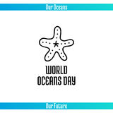 World Oceans Day. June 8. Promoting card with hand drawn doodle,  line illustration. Starfish on a white background Royalty Free Stock Photos