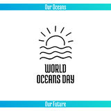 World Oceans Day. June 8. Promoting card with hand drawn doodle,  line illustration. Sunset or sunrise over the sea waves on a white background with text Royalty Free Stock Image