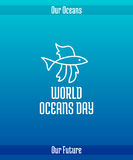 World Oceans Day. June 8. Promoting card with hand drawn doodle,  line illustration. Tropical fish, a sea animal. White picture on a gradient blue background Stock Photo