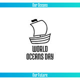 World Oceans Day. June 8. Promoting card with hand drawn doodle,  line illustration. Wooden sailing ship on a white background Stock Image