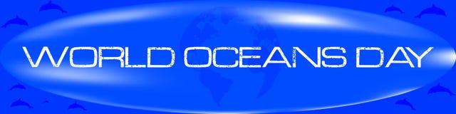 World oceans day label stock illustration
