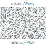 World oceans day theme black and blue banner - pictograms of fish, dolphin, shell, shark, turtle and other marine line. Elements. Simple silhouette, editable Stock Images