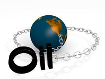 World on a Oil chain 3d Royalty Free Stock Images