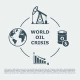 World oil crisis infographic. Drop in oil prices. oil down concept. vector illustration Stock Photos