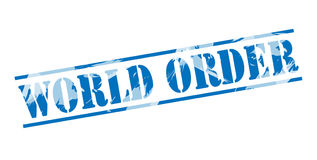 World order blue stamp. Isolated on white background Royalty Free Stock Photography