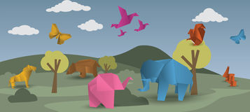 World of origami - animals Stock Photo