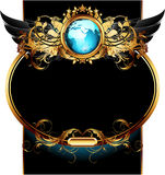 World with ornate frame. Blue globe decorated golden leaves and wings, this illustration may be useful as designer work Royalty Free Stock Photography