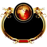 World with ornate frame. Golden oval frame with globe , this illustration may be useful as designer work Stock Photos