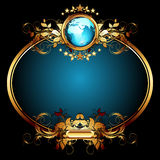 World with ornate frame. Golden oval frame with globe and floral decor, this illustration may be useful as designer work Royalty Free Stock Photos