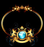 World with ornate frame. Ornate golden frame with globe and heraldry lions, this illustration may be useful as designer work Stock Image