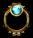 World with ornate frame. Ornate golden frame with globe, this illustration may be useful as designer work Stock Images