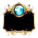 World with ornate frame. Ornate golden frame with globe, this illustration may be useful as designer work Royalty Free Stock Photography