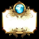 World with ornate frame. Ornate golden frame with globe on the black background, this illustration may be useful as designer work Stock Photo