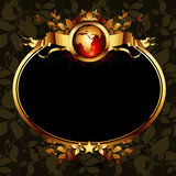 World with ornate frame. Ornate golden frame with globe on the ornamental background, this illustration may be useful as designer work Stock Images