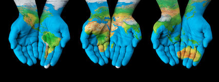 World in our hands stock photo