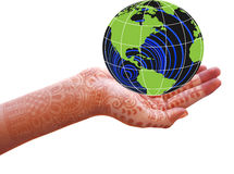 World is in our hands. World in a girl's hand Stock Photography