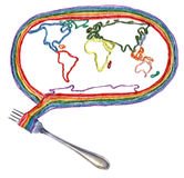 The world on the fork Stock Photography