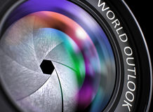 World Outlook Concept on Camera Lens. 3D. World Outlook on Front of Lens. Colorful Lens Flares. World Outlook - Text on Lens of Reflex Camera with Pink and Stock Image
