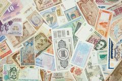 World Paper Money. Collection of all over the world paper money Royalty Free Stock Photos