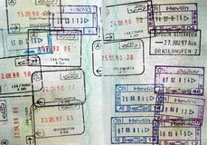 World passport visa stamps royalty free stock image