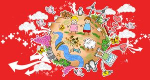 World Peace 01. Children world peace nature clouds stock illustration