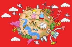 World Peace 02. Children world peace nature clouds vector illustration