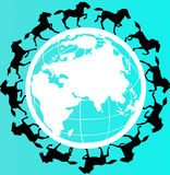 World peace. Black colored horses around the world symbolizing world peace Royalty Free Stock Photography