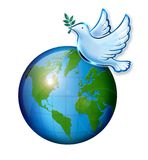 World Peace. Concept with dove icon flying across the world vector illustration