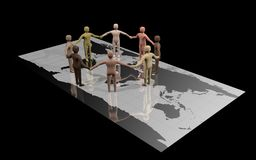 World peace. Group of racially diverse people standing on a world map and holding hands Stock Images