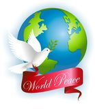 World Peace. Vector illustration of peace dove with banner that reads world peace stock illustration