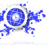 World peace abstract background. With blots and a sign of peace with globe Royalty Free Stock Photography