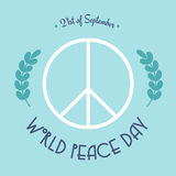 World peace day — 21 of September. Pacific sign with olive branch Stock Photo