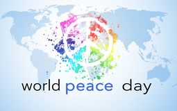 World Peace Day. Background with world map and peace symbol royalty free illustration