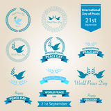 World peace day badges and labels design Royalty Free Stock Images