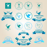 World peace day badges and labels design Royalty Free Stock Photos